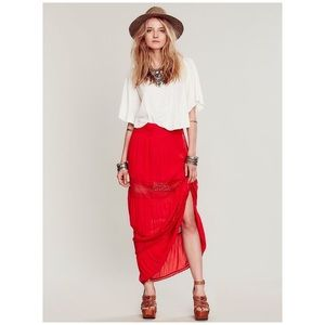 Free People Woodstock Red Lace Maxi Skirt